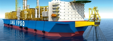 LNG floating production storage and offloading (FPSO) / CAD model / mobile LNG plant on a ship