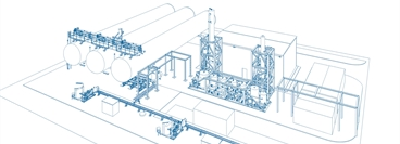 CAD drawing of a typical standardised design of a CO2 purification and liquefaction plant